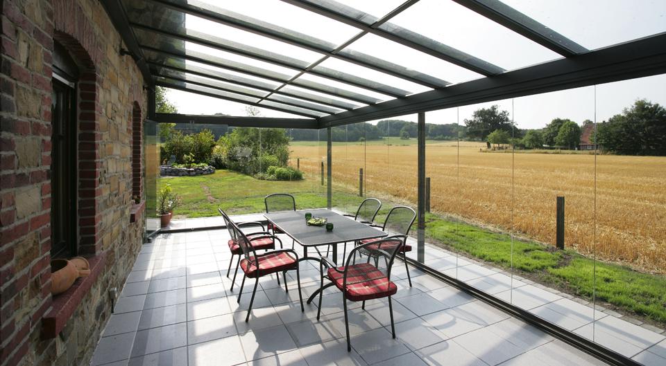 Solarlux terraskamer van glas met schuifwand