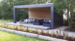 moderne terrasoverkapping van hout, vlonder