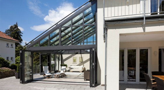 Solarlux serre van glas met vouwwanden