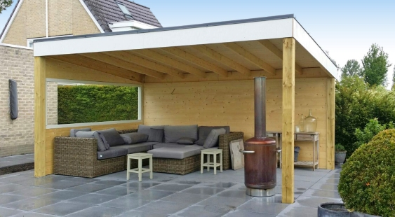 moderne terrasoverkapping van hout